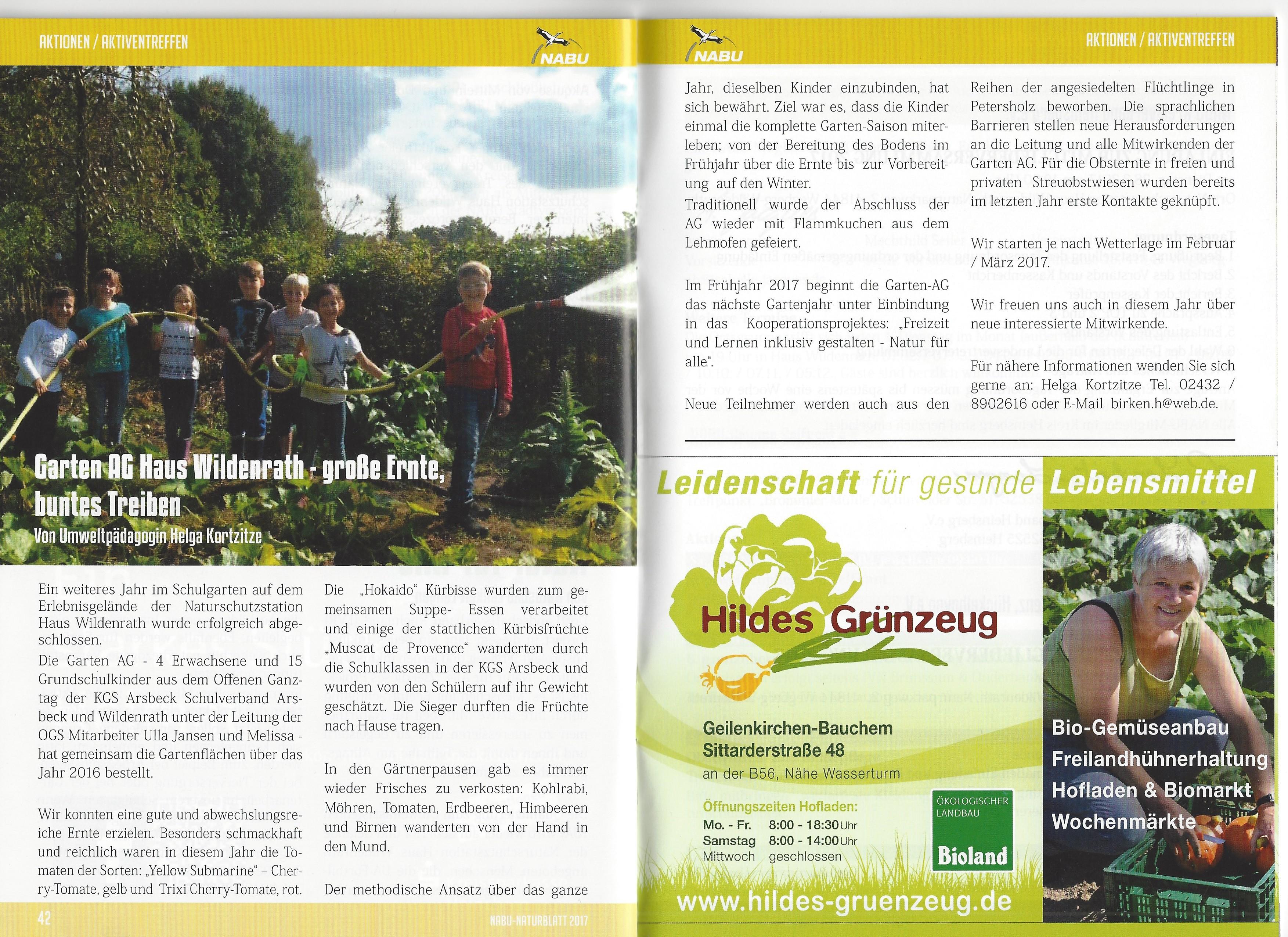 Bericht Garten AG Haus Wildenrath